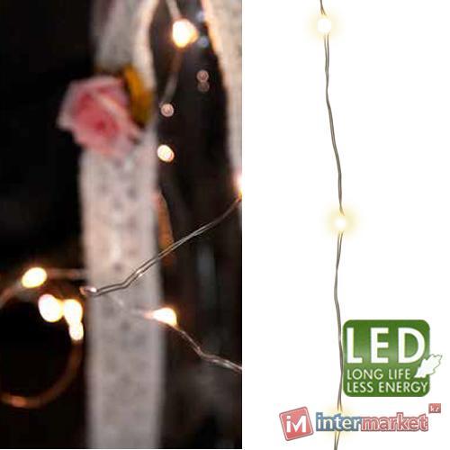 Гирлянда нить 9м белая кабель серебристый 8функций 180диодов LED MICRO outdoor